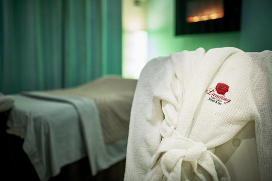 Plush robe with The Landing logo embroidered