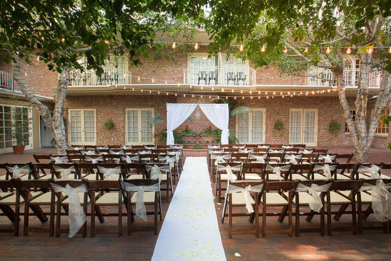 wedding setup in courtyard