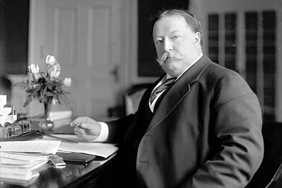President William Howard Taft sitting at desk at Hotel Colorado