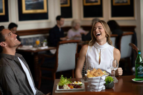 couple laughing in the restaurant