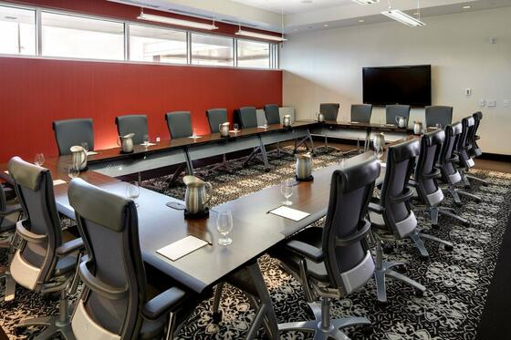 Elegant private meeting room with long table