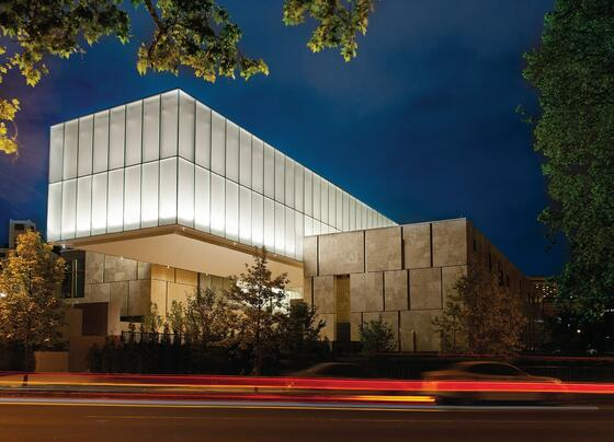 Exterior of  Barnes Foundation art institute at night