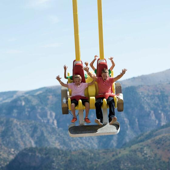 Giant Canyon Swing at Glenwood Caverns in Glenwood Springs