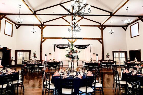 Wedding reception setup in Lodges at Gettysburg.