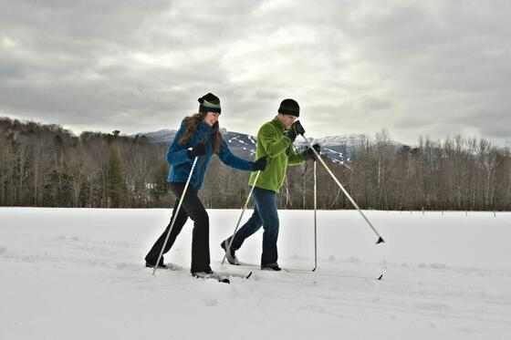 Friends cross-country skiing.