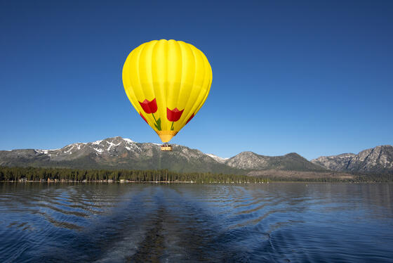 Balloon in front of tallac