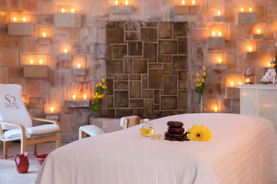 spa room with massage table