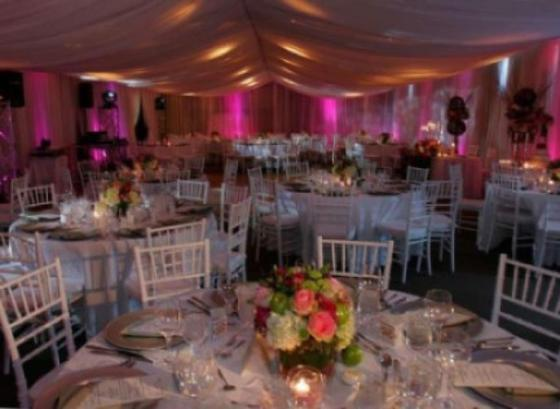 Wedding reception with accent lighting