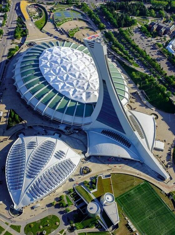 Aerial view of Biodome.