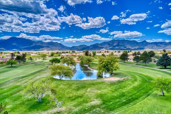 Drone photo of Pueblo del Sol golf course.