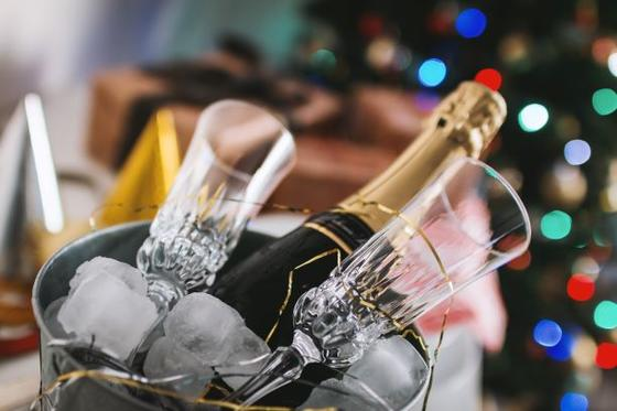 Champagne bucket with two flutes.