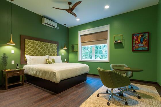 Brazil-themed hotel room.