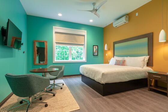 Australia-themed hotel room.