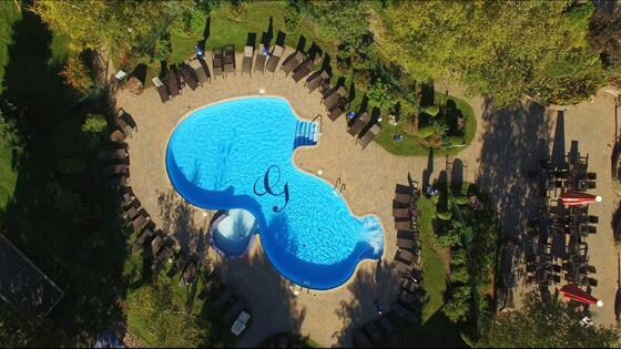 Ariel view of outdoor pool at Mont Gabriel Resort & Spa