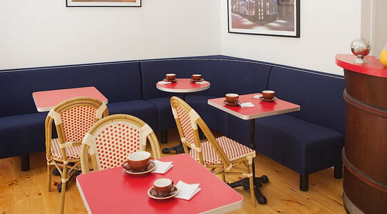 Cozy banquette seating with table and coffee