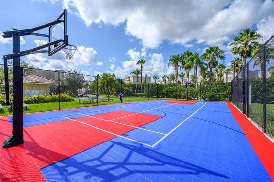 a blue and red basketball court