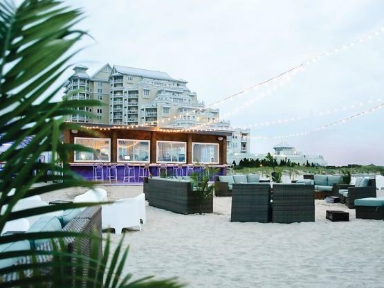 bar on beach with seating options