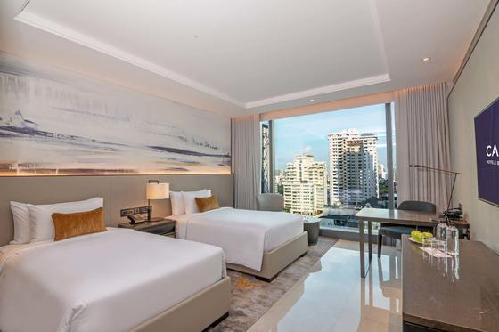 hotel room with twin beds and city view