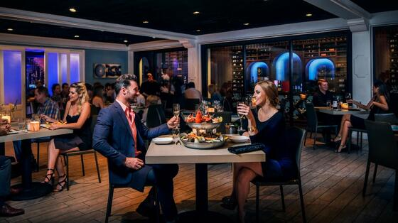 couple eating dinner at romantic restaurant
