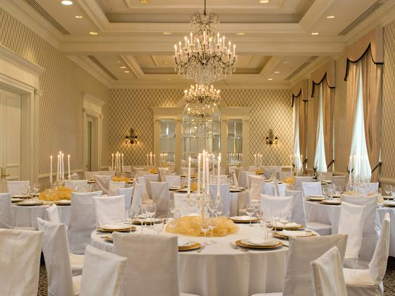 tables and chairs in ballroom