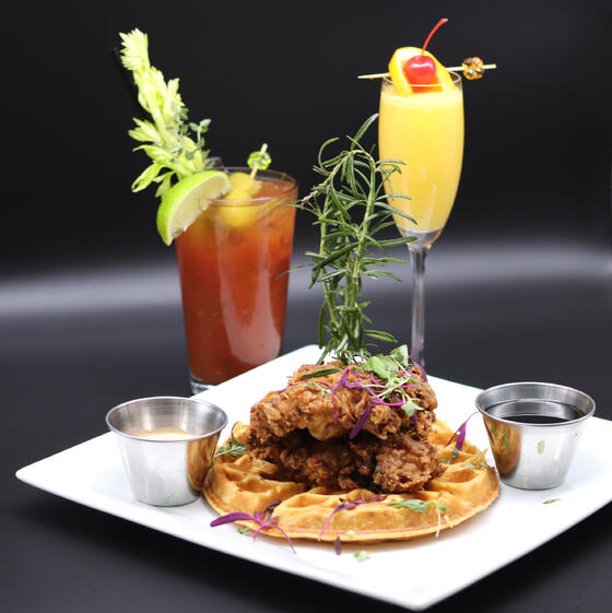 Brunch, Chicken, Waffles and Mimosa