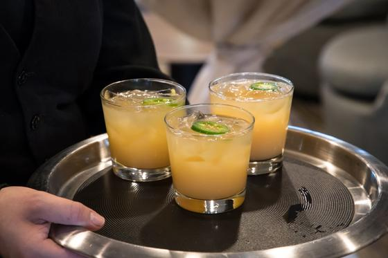 tray of orane cocktails