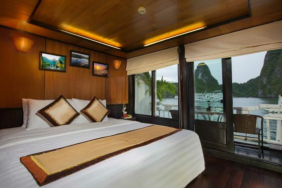 Syrena Cruises - Best Halong Bay Cruises - Deluxe King Balcony
