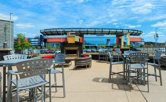 outdoor lounge with view to gillette stadium