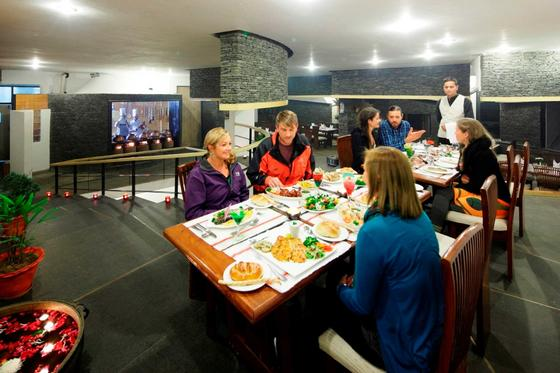 Dining at ManuAllaya Resort Spa Manali in Himachal Pradesh