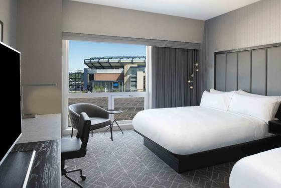 room with two beds and view to gillette stadium