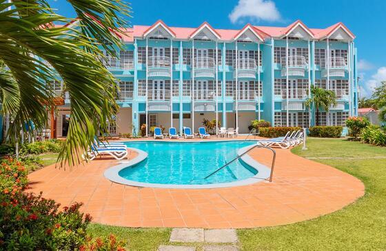 hotel overlooking pool
