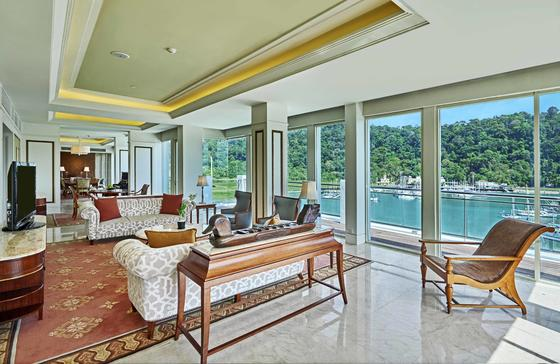 Spacious living area of Royal Imperial Suite