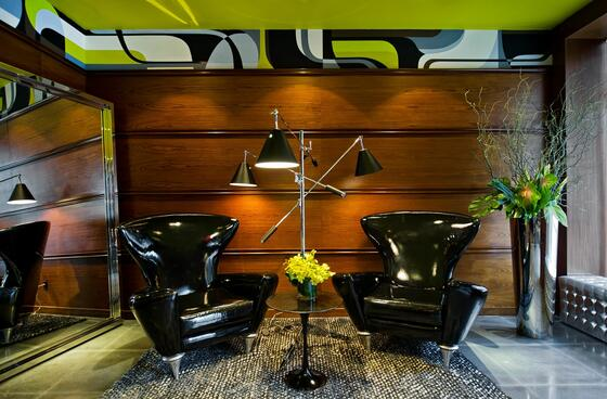 two sleek black chairs