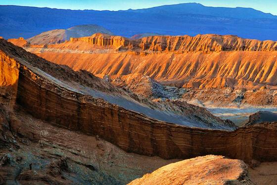 Moon valley mountains surrounding near NOI Casa Atacama hotel