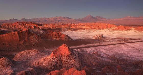 Mars Valley with rocks & mountains near NOI Casa Atacama hotel