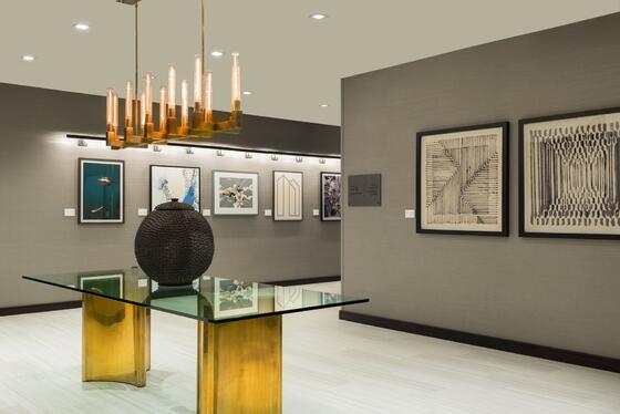 modern hallway with artwork