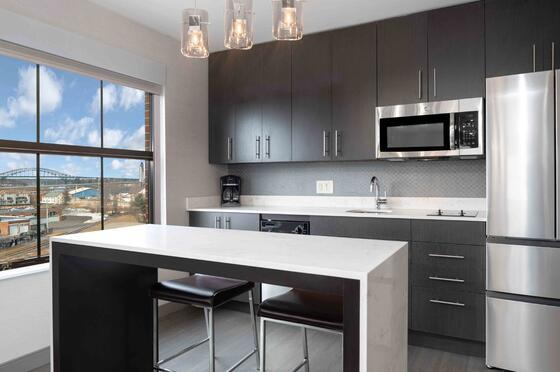 modern kitchen in hotel with window