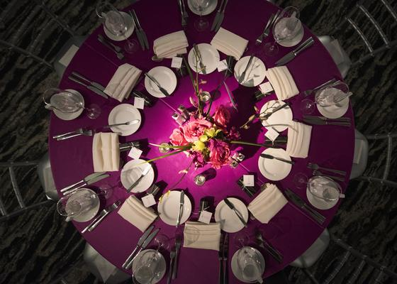 aerial shot of pink event table