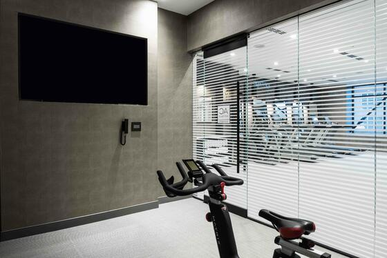 glass window to fitness center