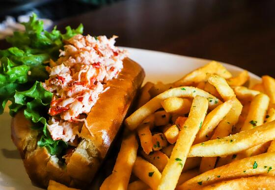 crab roll and fries