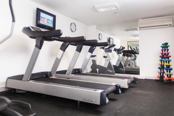a row of treadmills