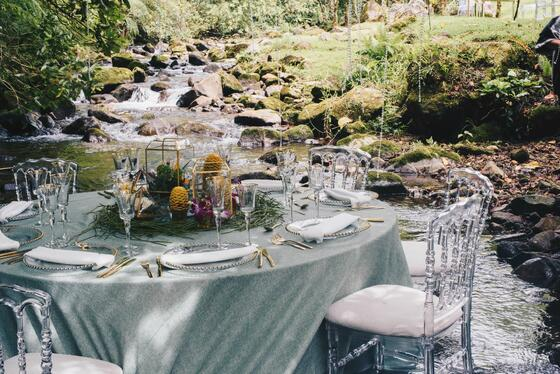 dining table next to river