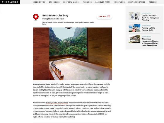Reseña al premio como mejor hotel de lujo en Machu Picchu