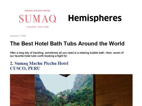 Reseña como el hotel con mejores bañeras del mundo