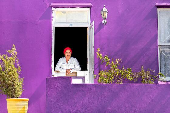 Faldela Tolker in purple Bo-Kaap house