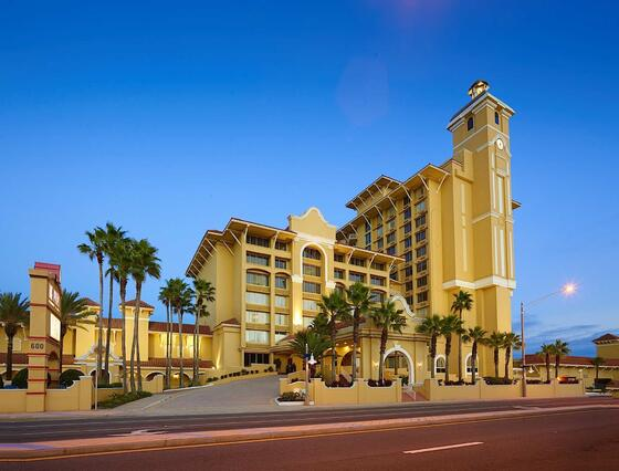 Street view of the front of the resort at dusk, Daytona Beach, A