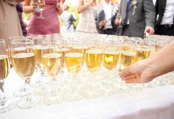 Champagne glasses at wedding