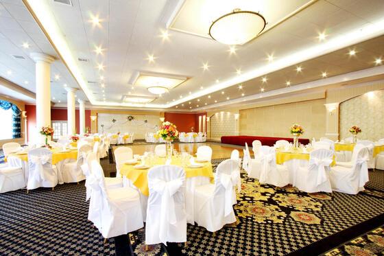Tables set up at wedding venue