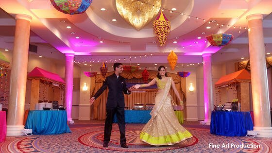 bride and groom at multicultural wedding