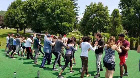 People doing teambuilding activities
